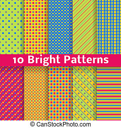 Abstract geometric bright seamless patterns (tiling). Vector