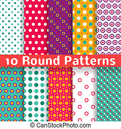 10 Different round shape vector seamless patterns (tiling). Endless texture can be used for printing onto fabric and paper or scrap booking. Diagonal, polka design wallpaper in light bright color.