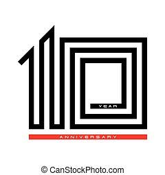 10, Ten year celebration anniversary for design logo concept, vector