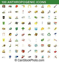100 anthropogenic icons set, cartoon style