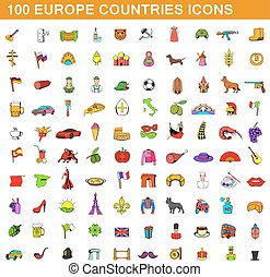 100 europe countries icons set, cartoon style