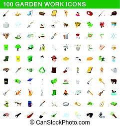 100 garden work icons set, cartoon style