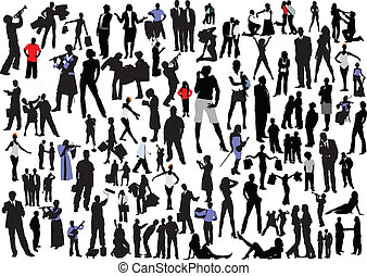 100 people silhouettes. Vector colored and black and white illustartion