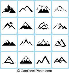 16 Vector Mountain Icons Set