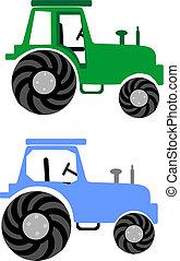 2 Farm tractors: Green and Blue