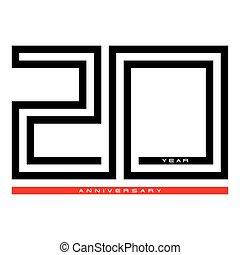 20, Twenty year celebration anniversary for design logo concept, vector