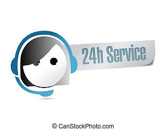 24 hour service customer support illustration design