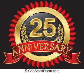 25 years anniversary golden label with ribbons, vector illustration