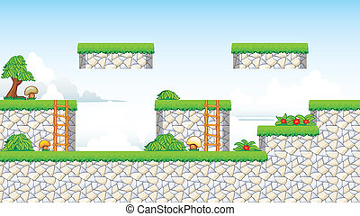 A set of vector game contains ground tiles and several items / objects / decorations, used for creating mobile games