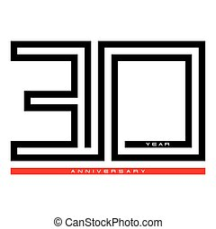 30, Thirty year celebration anniversary for design logo concept, vector