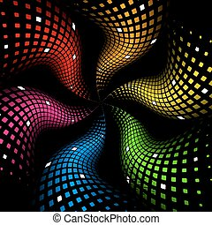 3d abstract dynamic rainbow background on black