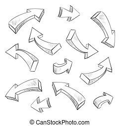 3D arrow sketchy design elements set vector illustration