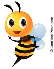 3D bee. Cartoon cute bee character pointing finger. Vector illustration isolated