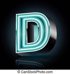 3d blue neon light letter D