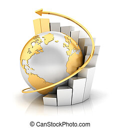 3d business earth with bar chart and gold arrow , isolated white background, 3d image