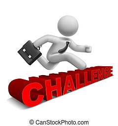 3d businessman jumping over 'challenge' word with white background