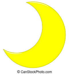 3d crescent moon isolated in white