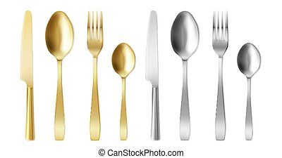 3d cutlery golden and silver fork, knife and spoon