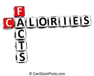 3D Facts Calories Crossword on white background