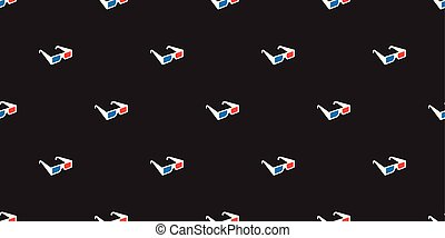 3d glasses vector Seamless Pattern isolated wallpaper tile background