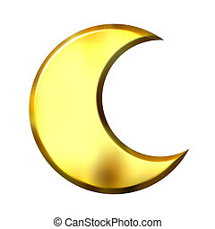 3d golden crescent moon isolated in white