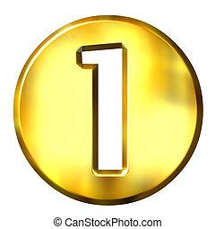 3d golden framed number 1 isolated in white