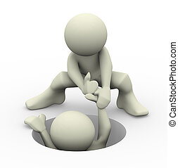 3d render of a person helping another man. 3d illustration of human character people.