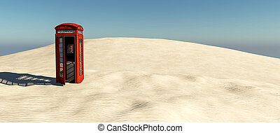 English telephone booth in the desert