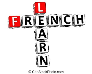 3D Learn French Crossword on white background