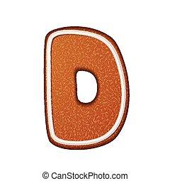 3d lovely gingerbread cookie alphabet D