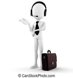3d man business man offering support
