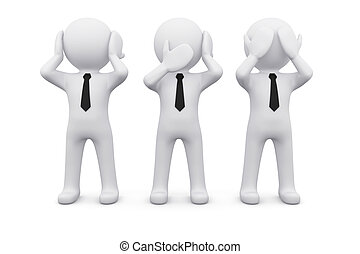 three 3D men as symbol of say, see or hear nothing