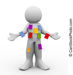 3d illustration of person with different blank sticky notes. Concept of multitasking. 3d rendering of people - human character.