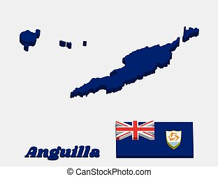3D Map outline and flag of Anguilla, Blue Ensign with the British flag in the canton, charged with the coat of arms of Anguilla in the fly.
