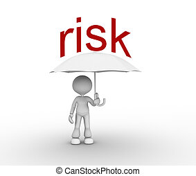 3d people - man, person with a umbrella. Risk