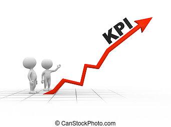 3d people - men, person and arrpw. KPI ( Key performance indicator)