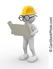 3d people - men , person with project. Engineer