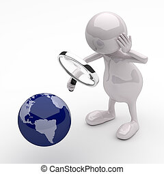 3D People with Magnifying Glass and Earth Globe