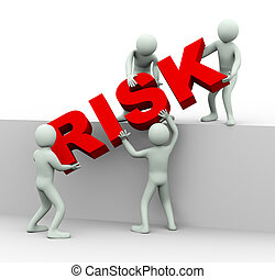 3d illustration of men placing word risk. 3d rendering of human people character and team work.