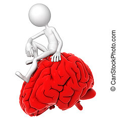 3d person sitting on red brain in a thoughtful pose. Isolated on white background