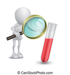 3d person watching a test tube with a magnifying glass