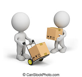 3D person carries boxes on a trolley. 3D image. White background.