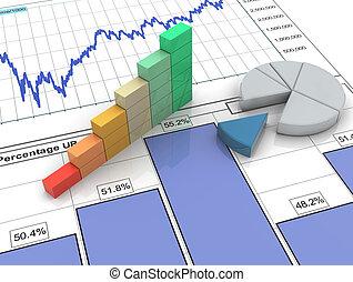 3d progress bar and pie chart on financial analysis report