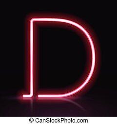 3d red neon light letter D