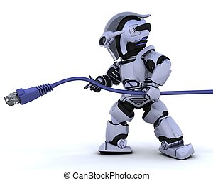 3D Render of a robot with RJ45 network cable