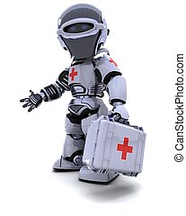 3D render of robot with first aid kit