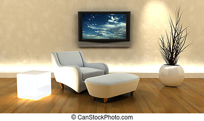 3d render of sofa and television on the wall