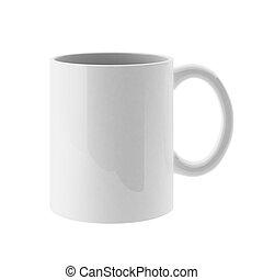 3d render of white mug