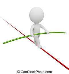 3d small people - acrobat balancing on a rope. 3d image. Isolated white background.