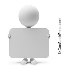 3d small people with the announcement. 3d image. Isolated white background.